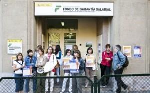Protesta en una oficina de Fogasa en Aragon. CCOO.