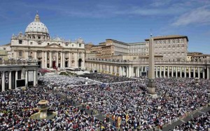 A view of the crowd in Saint Peter's Square during the beatification mass for Pope John Paul II