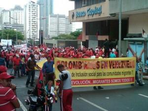 Manifestación  de colombianos en Venezuela el 1 de mayo.