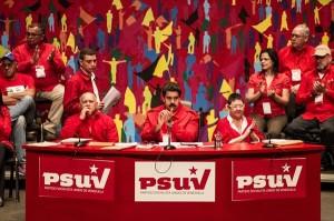 Nicolás Maduro en la mesa presidencial del Congreso del PSUV.