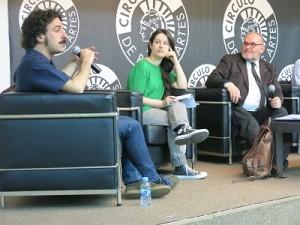 Darío Adanti (Mongolia), Elisa McCausland (periodista y experta en cultura popular), Luis Algorri (periodista y en este caso, moderador).